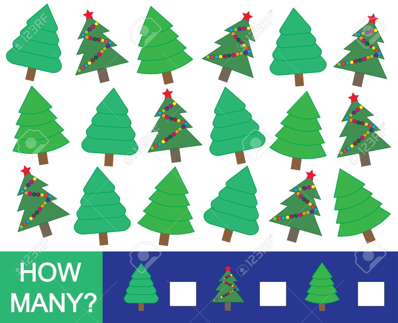 Mathematical Game For Children How Many Christmas Tree Fir