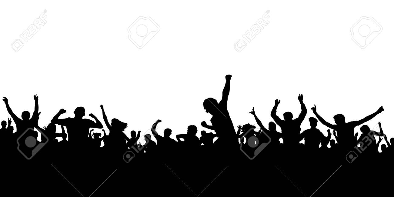 Hands up fans. Crowd of people silhouette. Sports banner - 94843003