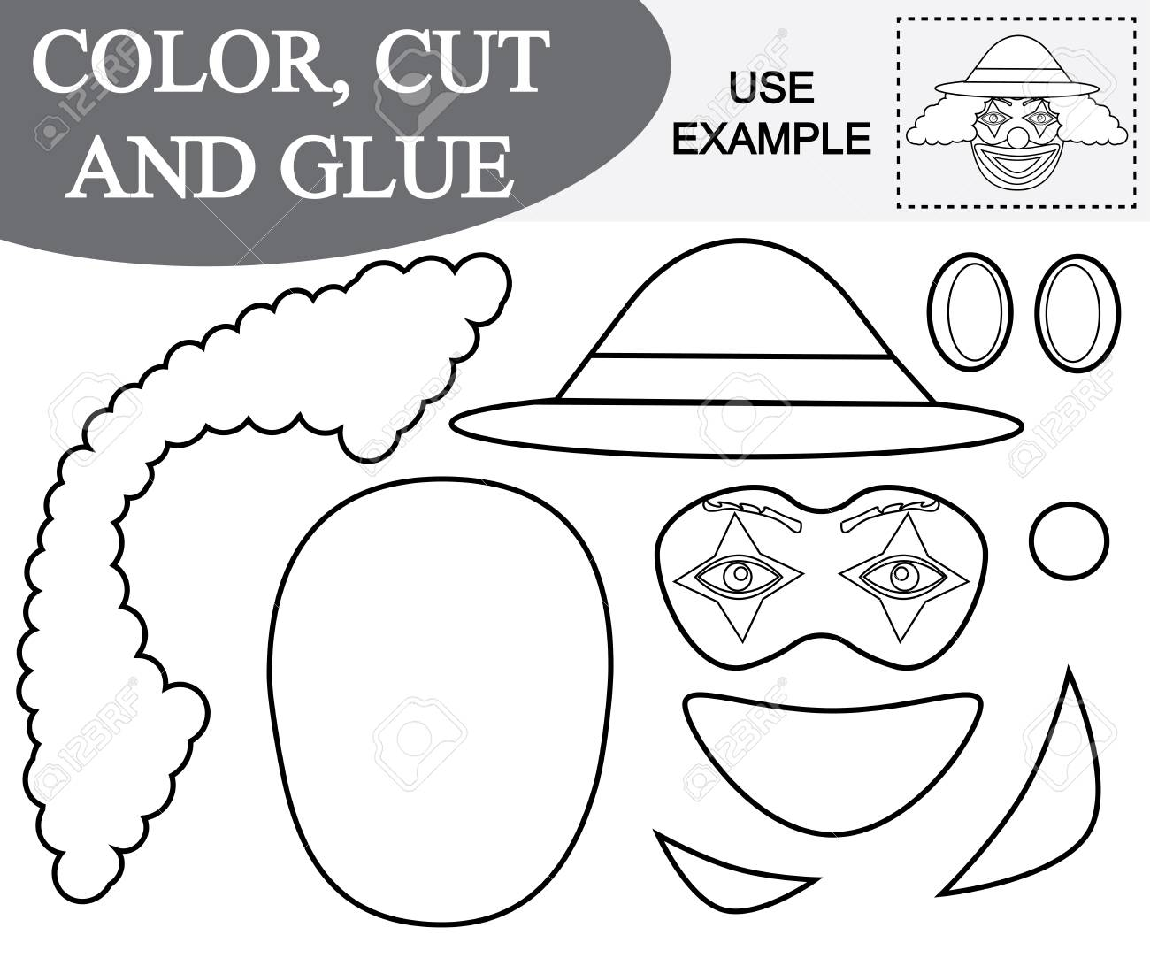 Color Cut And Paste The Image Of Face Of Clown Game For Children