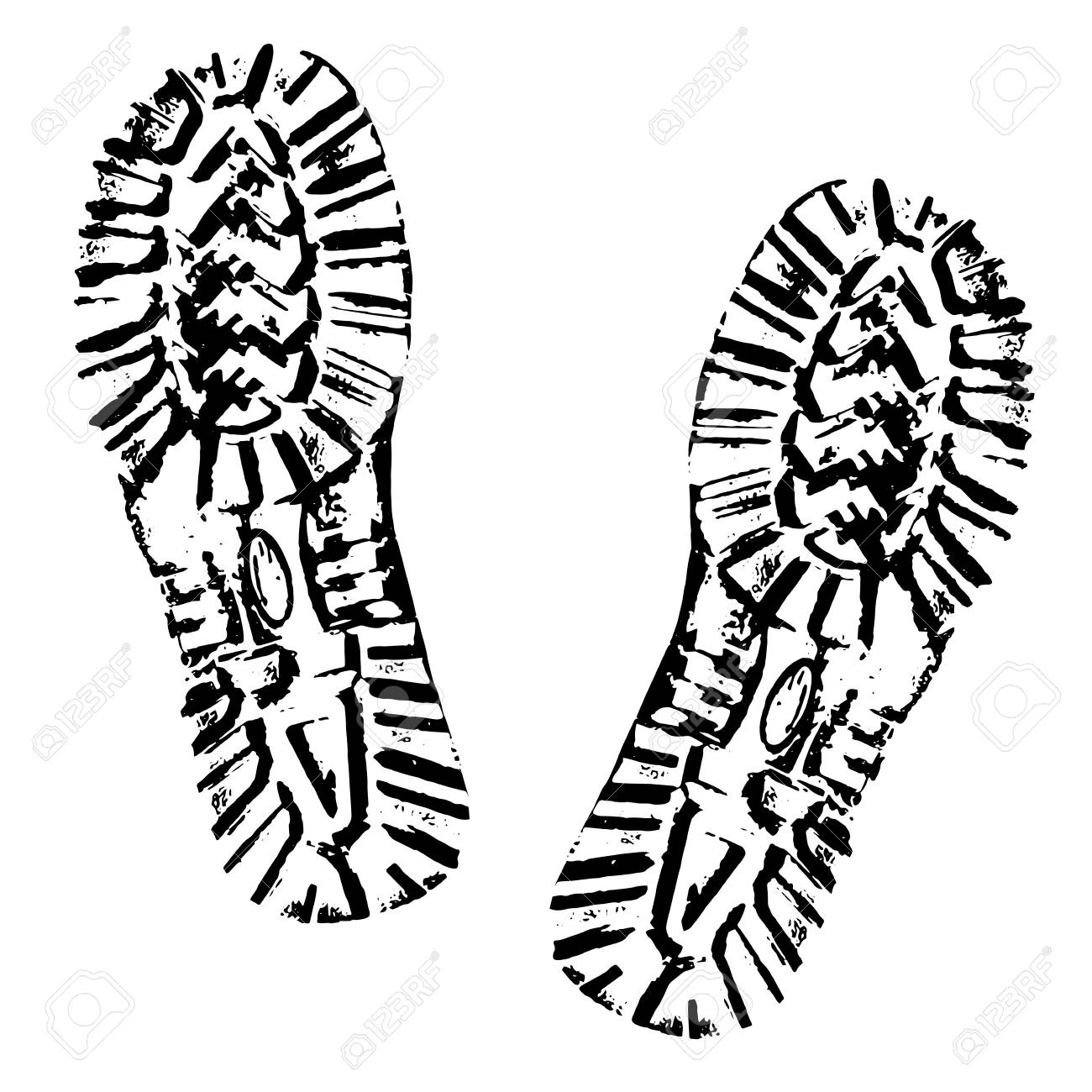 Human footprints shoe silhouette. Boot Imprint. Isolated on white background - 95806683