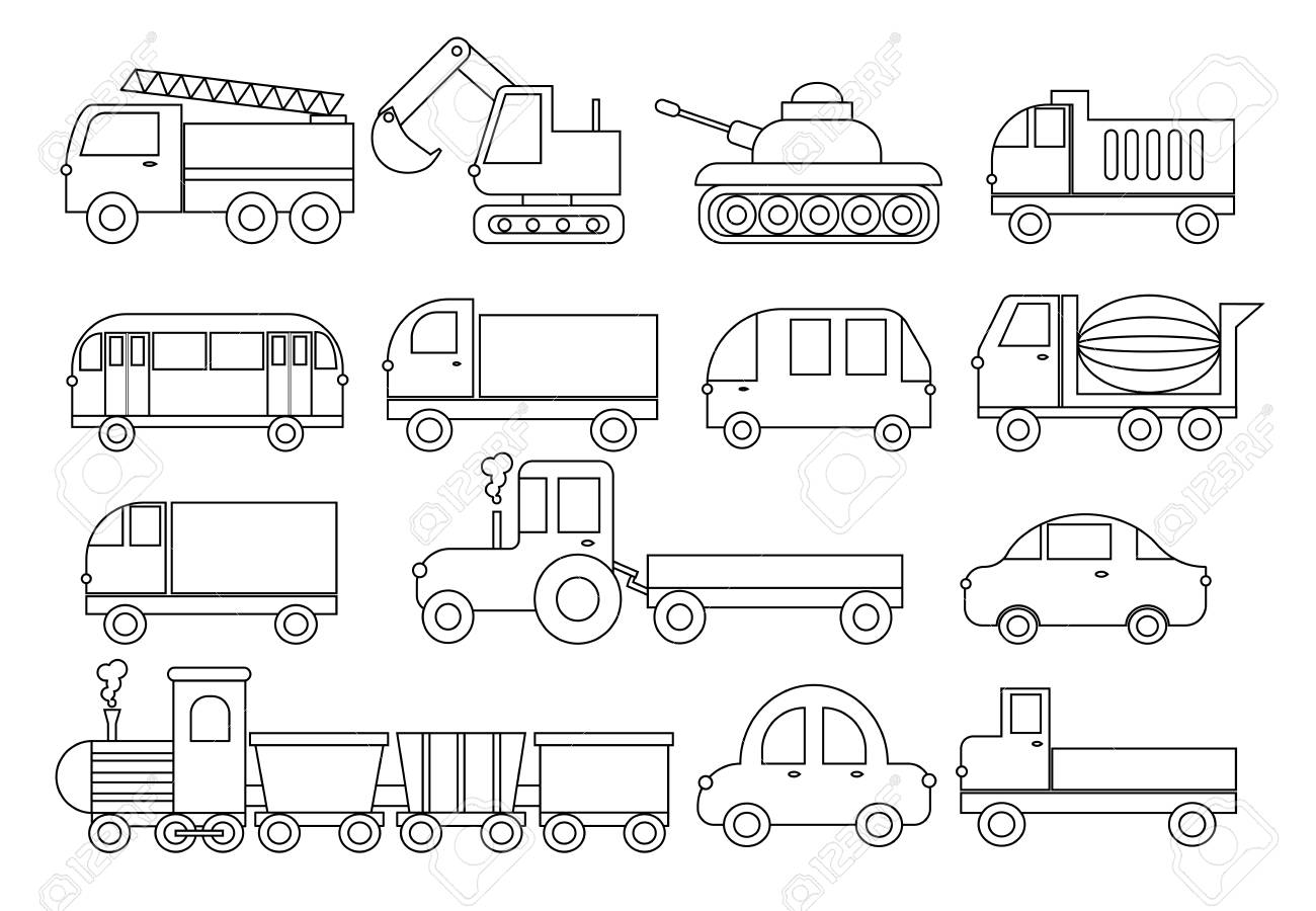 Coloring book, set of transport. Car, bus, train, fire truck,..