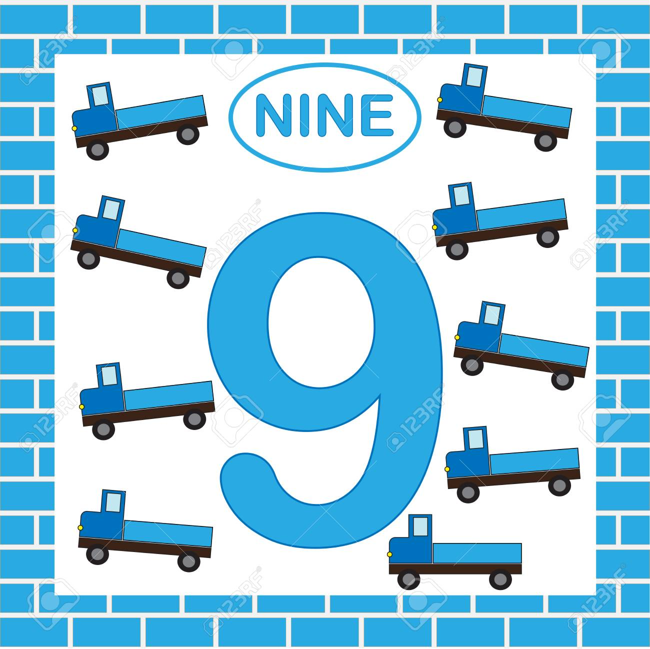 Number 9 (nine), Card. Learning Numbers With Transport, Truck ...