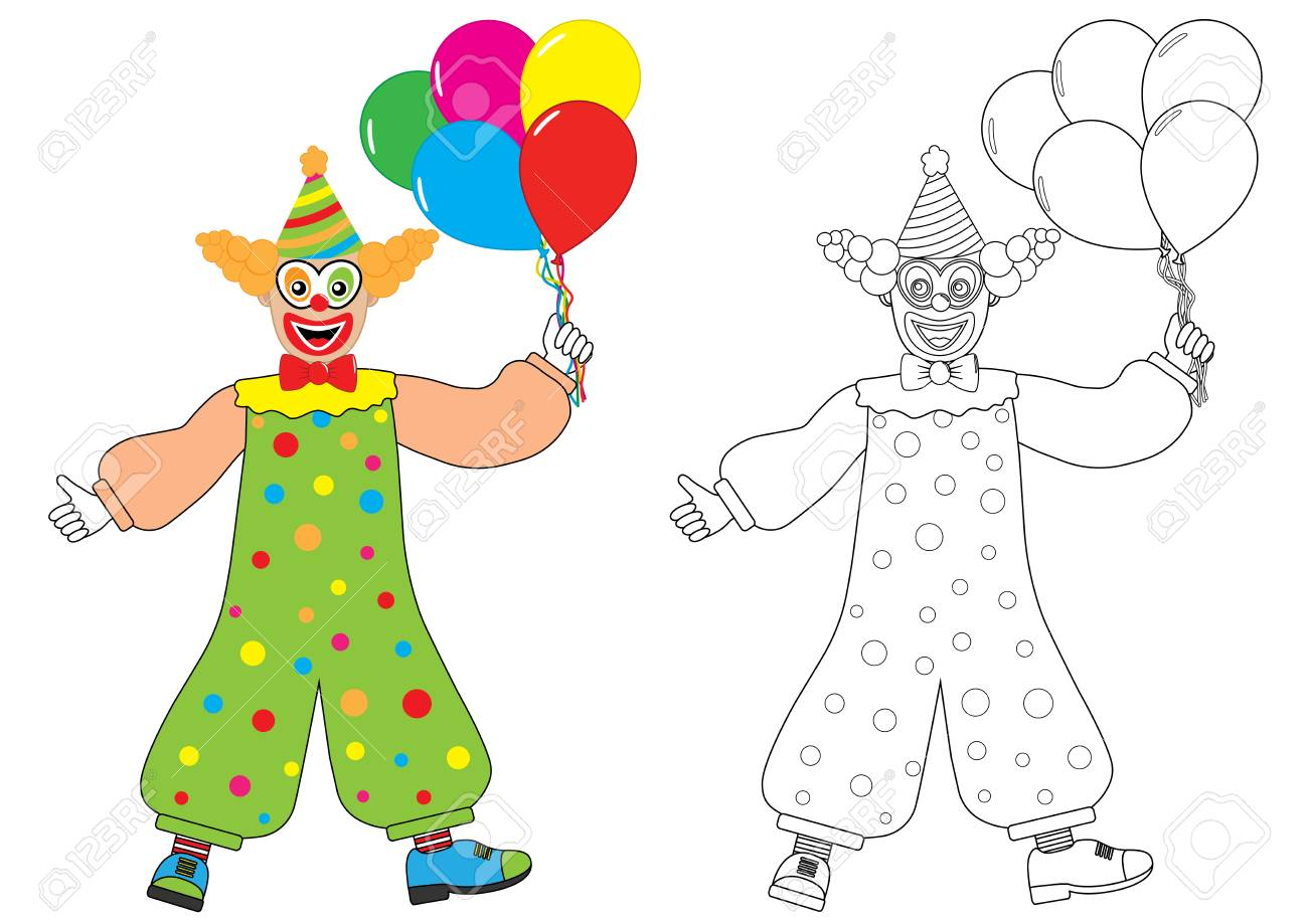 Clown with balloons Coloring book Activity for children. Vector illustration. - 97886958