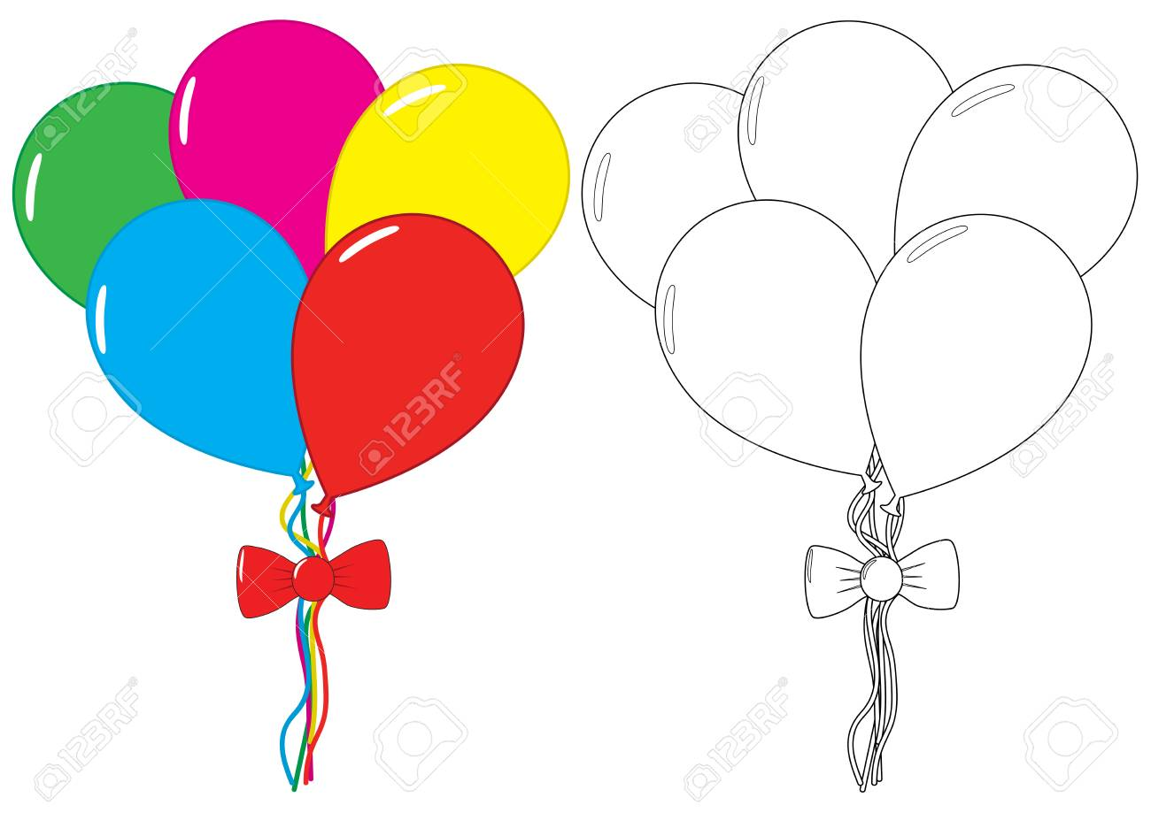 Balloons. Coloring Book. Leisure Activity For Children. Vector ...