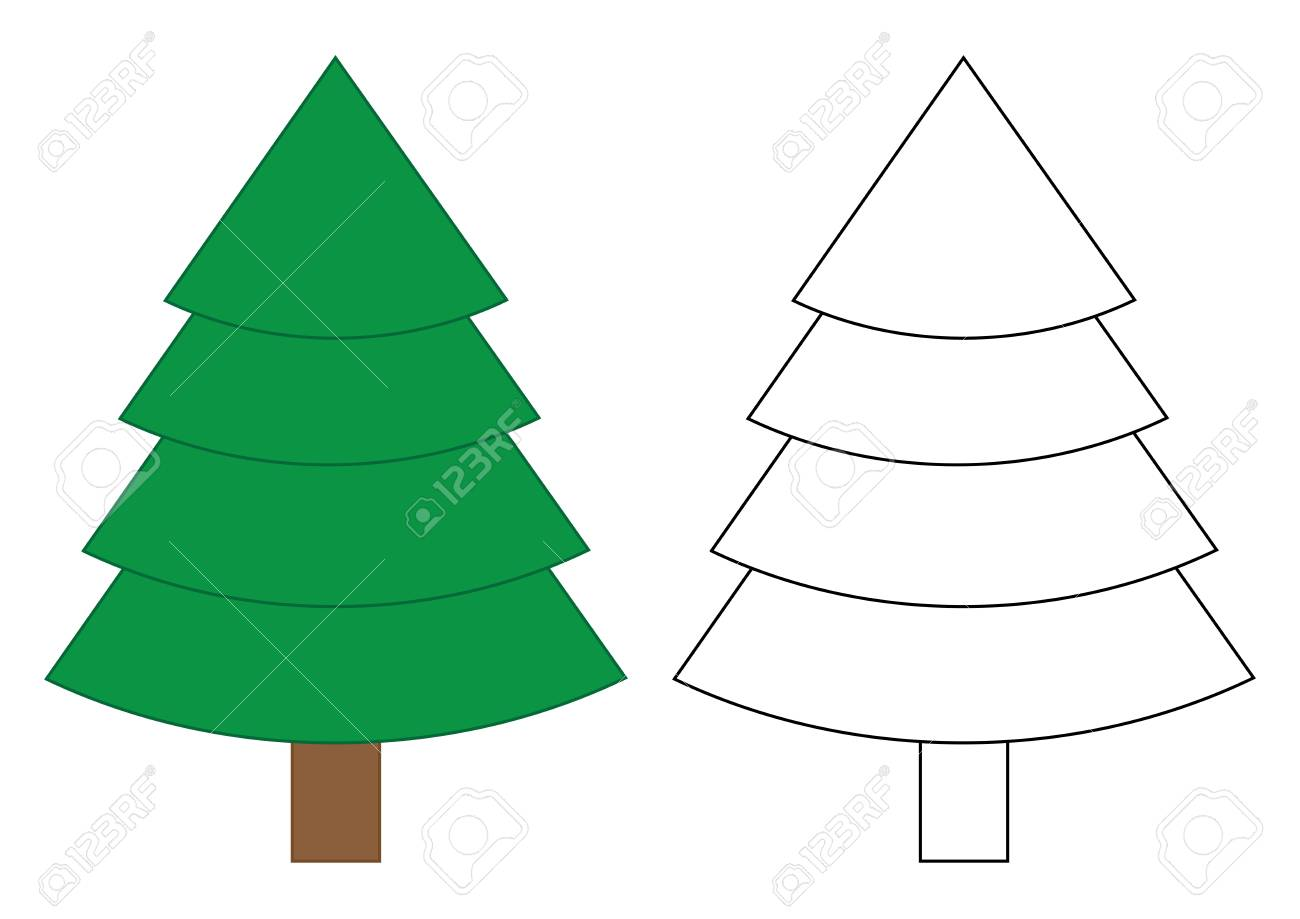 Fir Tree Cartoon. Coloring Page For Children. Vector Illustration ...