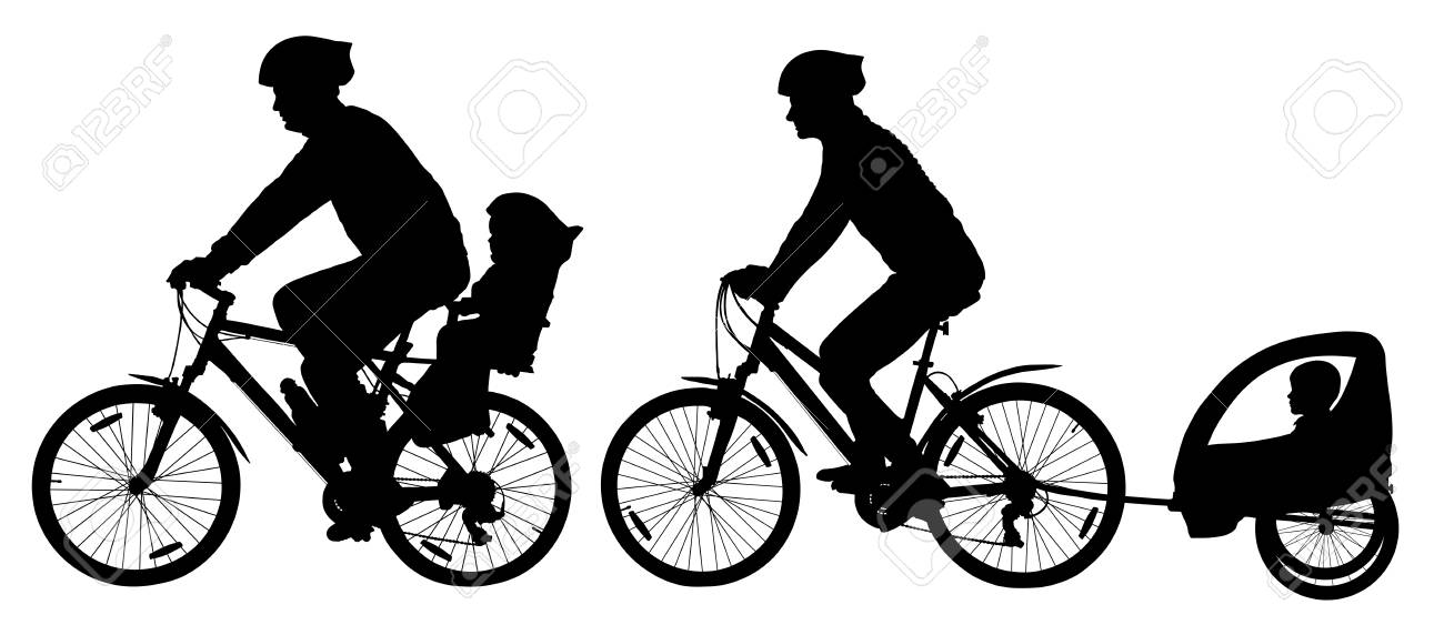 Family With Children Traveling On Bikes Mountain Bike Silhouette