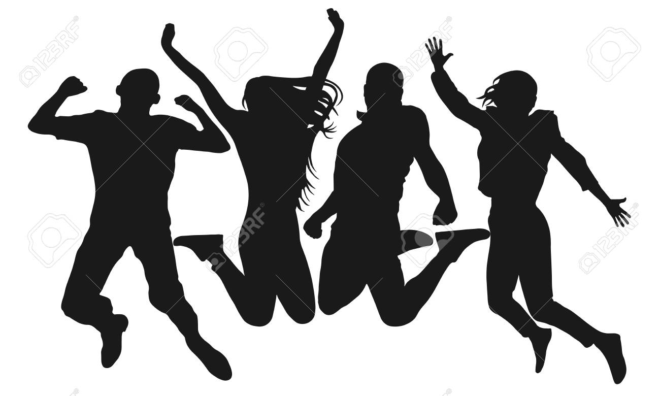 People jump vector silhouette. Cheerful man and woman isolated. Jumping friends colorful background - 116567747