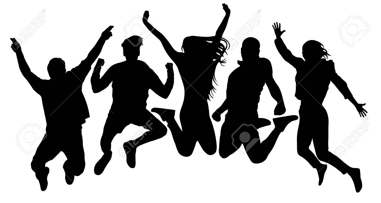 People jump vector silhouette. Jumping friends youth background. Crowd people, close to each other. Cheerful man and woman isolated - 121988183