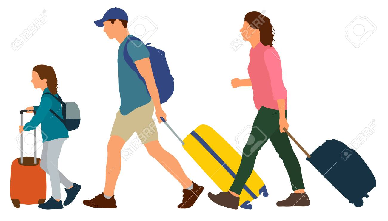 Young couple with a child rides on a resort. People go with suitcases. Vector illustration - 129262496
