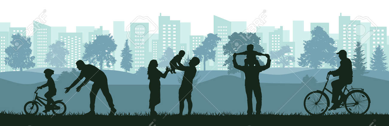 Lifestyle of people, silhouette of happy family, man, woman and child, old man. Learning child to ride bicycle by father, active sport life of elderly man, birth baby on family. Vector illustration. - 164303829