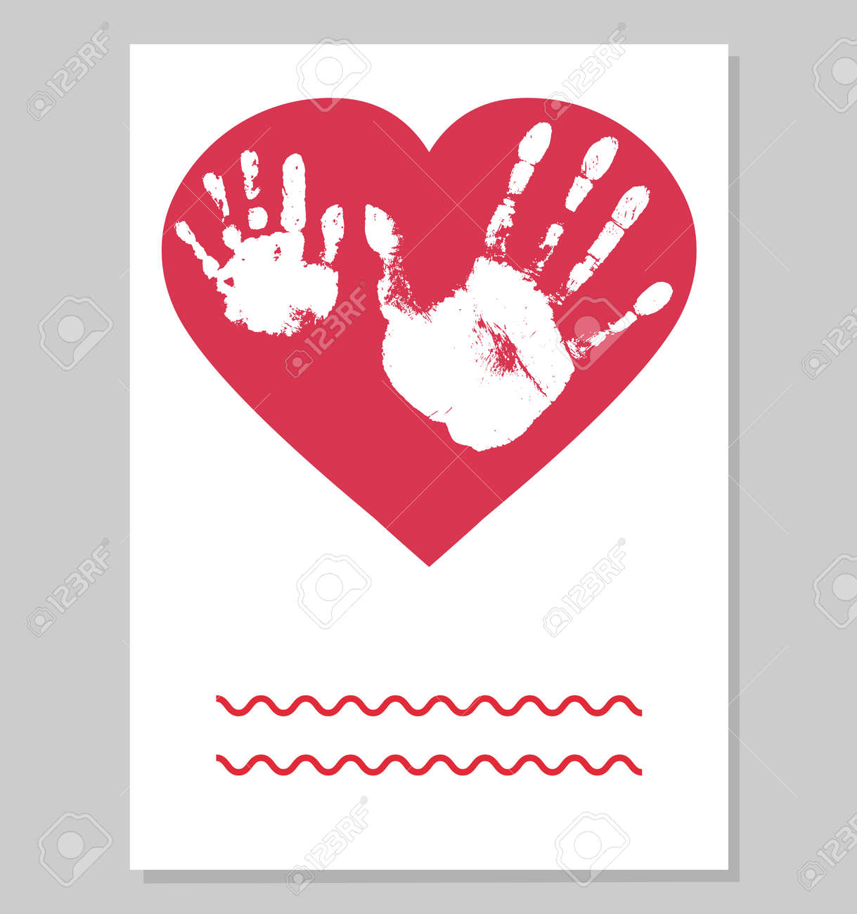 Greeting card. White imprint of baby palm hand and man palm in red heart shape. Handprints of son and father. Vector illustration. - 164195303