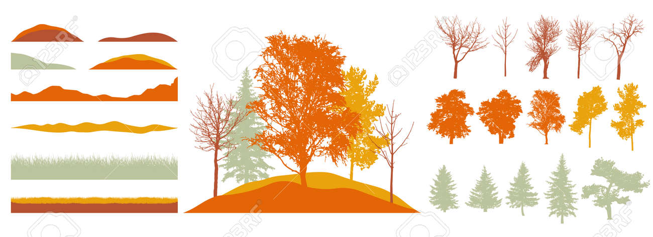 Constructor kit. Silhouettes of beautiful trees, birch, fir, other trees, grass, hill. Creation of autumn beautiful park, forest, landscape, woodland, collection of element. Vector illustration. - 164195056