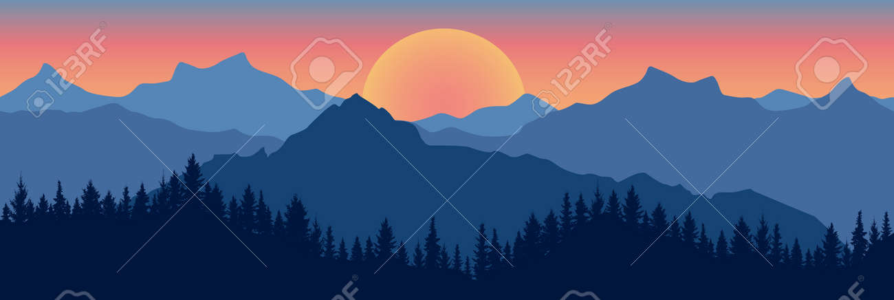 Beautiful landscape. Silhouette of dark blue forest on background of mountains and sunset. Panoramic view. Vector illustration. - 164195179