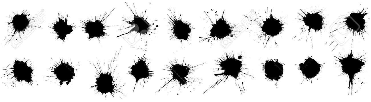 Set of grunge blots, splats. Paint splash. Vector illustration. - 164196122