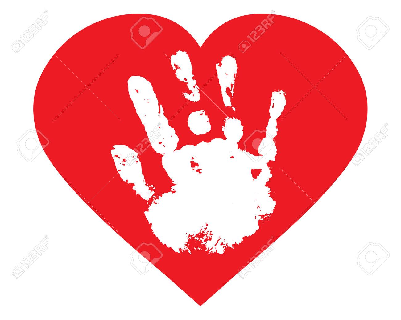 Baby palm of hand inside heart shape, handprint. Vector illustration - 164325313