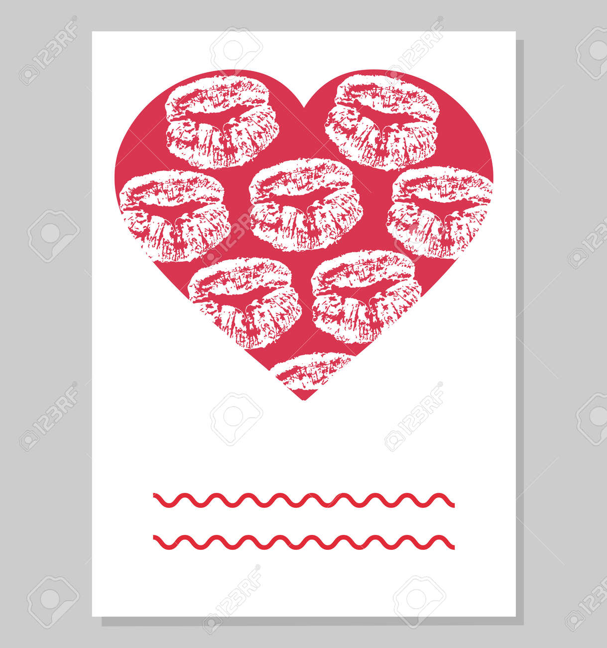 Greeting card or wedding invitation. Mark of female lips in red heart shape. Vector illustration. - 164325345