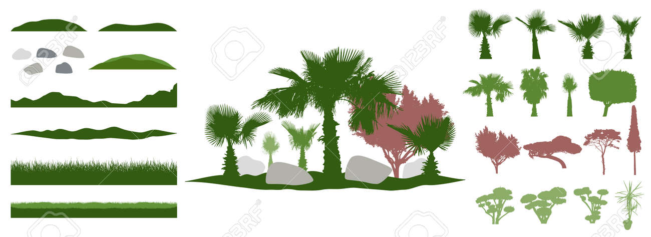Constructor kit. Silhouettes of beautiful decorative trees, bonsai and palm tree and topiary and pine, stone, grass, hill. Creation of summer beautiful landscaped garden, collection of element. Vector illustration. - 164642159