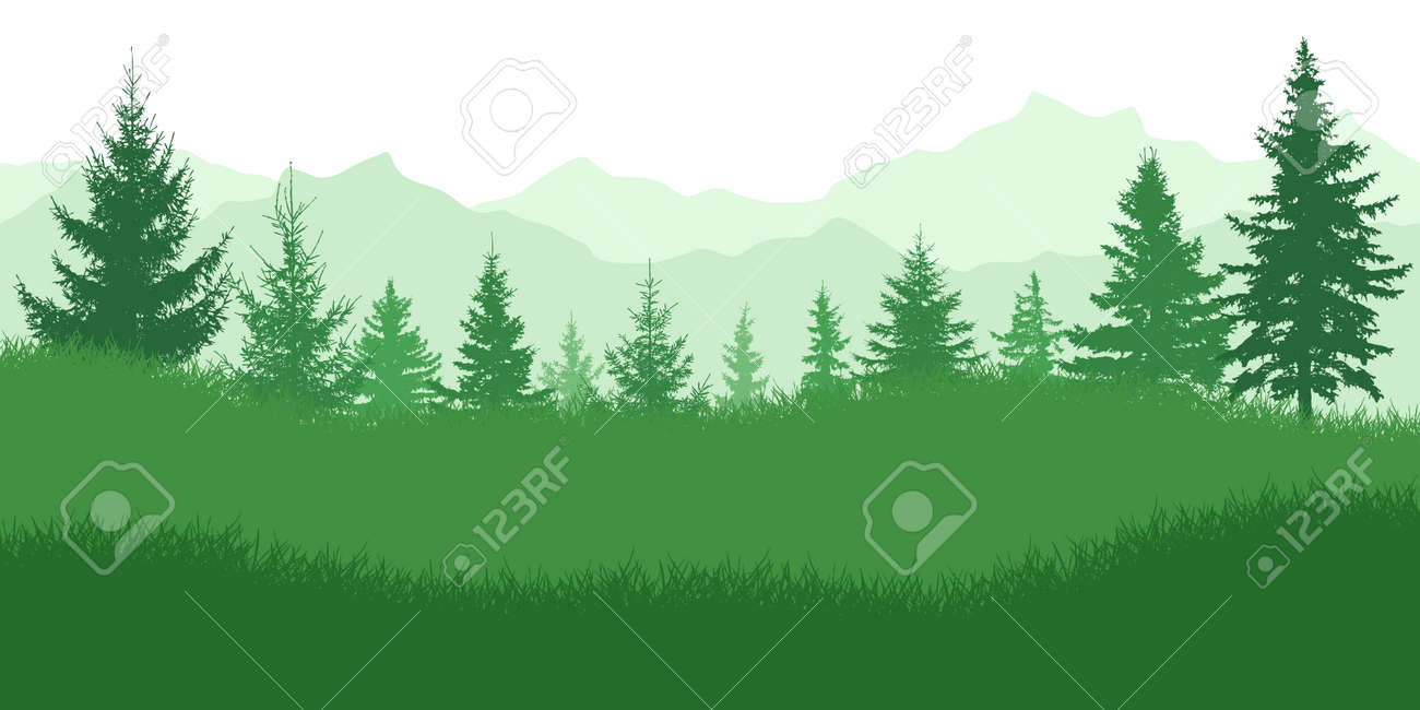 Spring nature, landscape. Green meadow on background of green forest and mountains. Vector illustration. - 164644720
