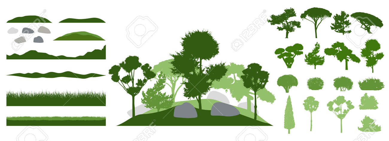 Design elements of decorative tree, collection. Constructor. Silhouettes of beautiful decorative trees, bonsai and pine, bush, other trees. Creation of beautiful landscaped garden. Vector illustration - 164644308