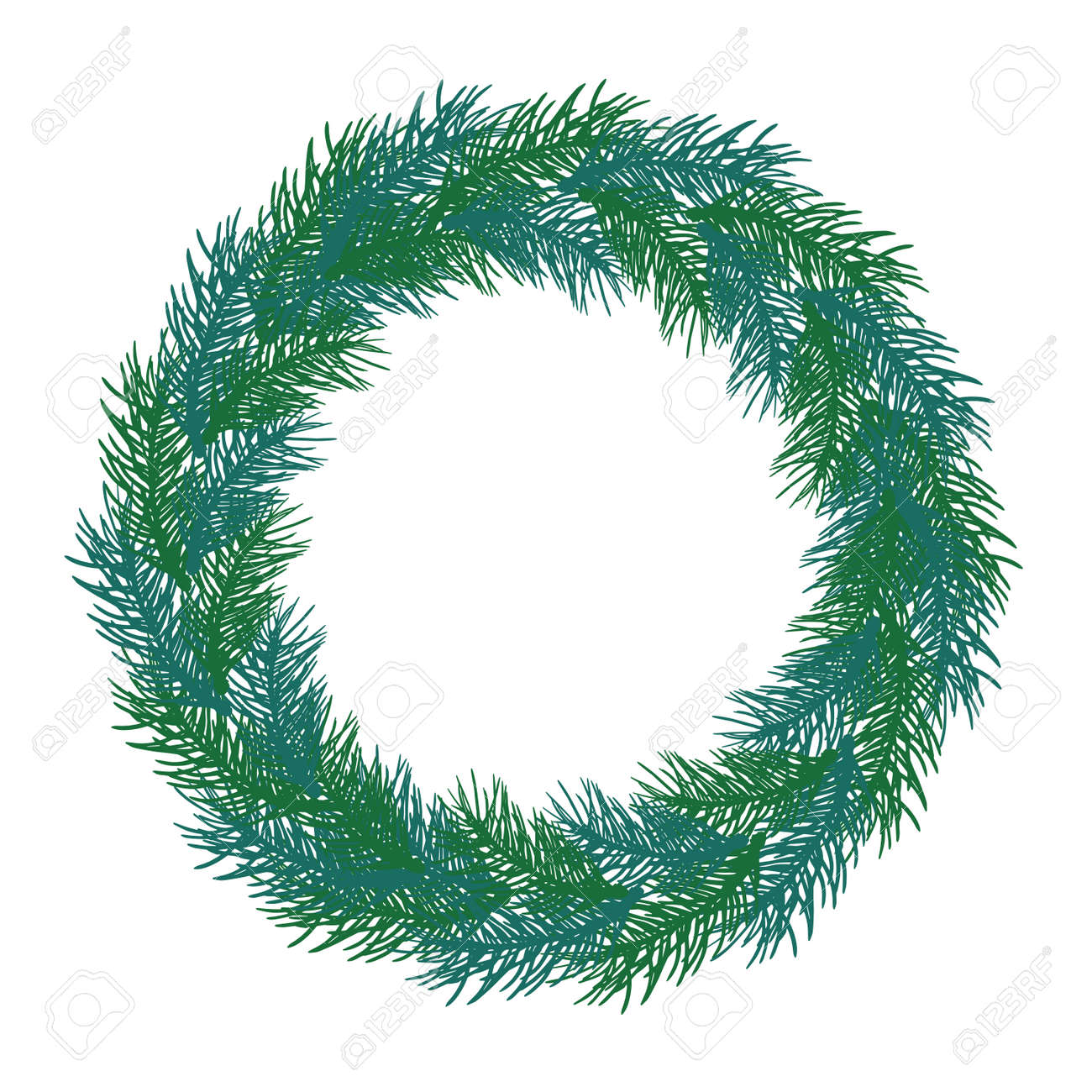 Wreath of branch fir tree. Circle frame, isolated. Vector illustration. - 164644795