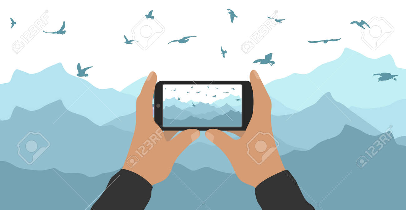 Male hands hold phone and take picture of mountain peak and flying birds. Vector illustration - 165096022