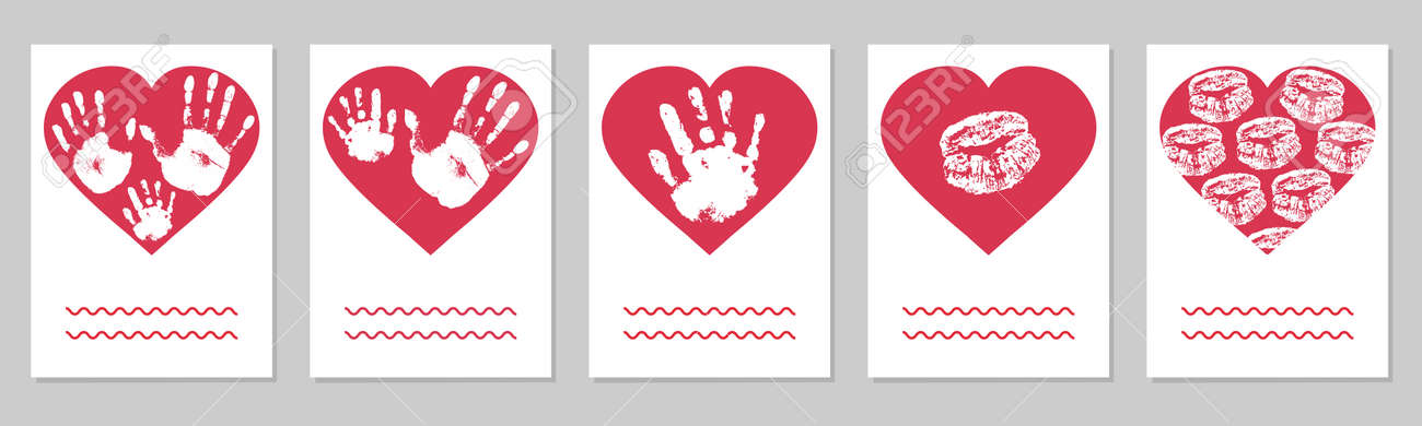 Greeting card, set. Handprints of family, imprint of palm hand of mother, father and baby, imprint of lips in red heart shape. Vector illustration - 165096034