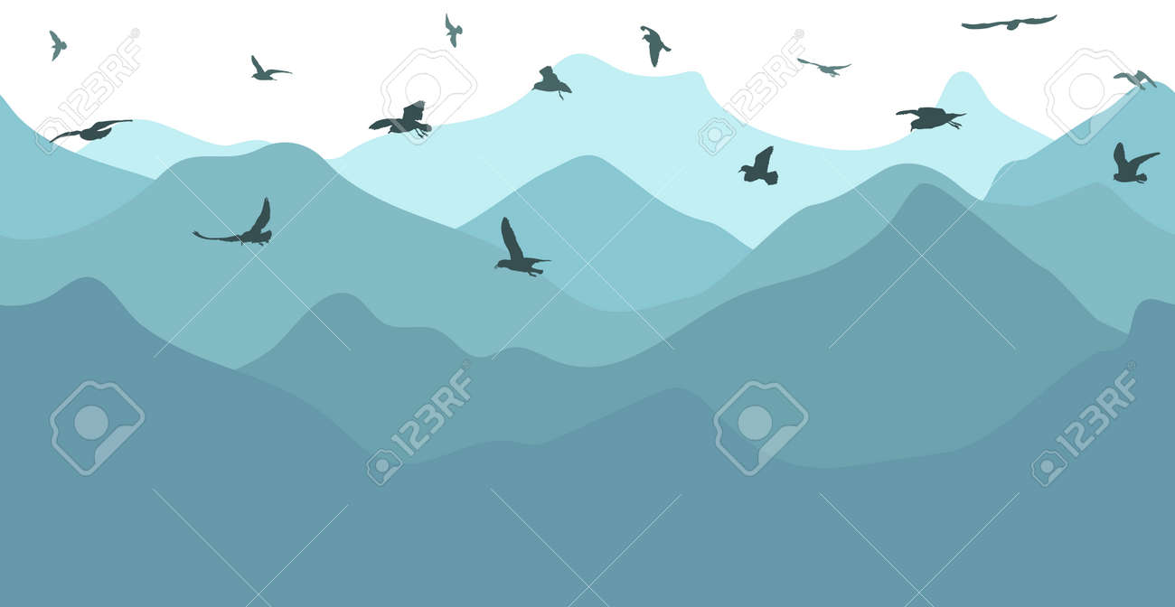 Seamless blue mountains in fog and flying birds, silhouette. Beautiful landscape, wallpaper. Vector illustration. - 165218454