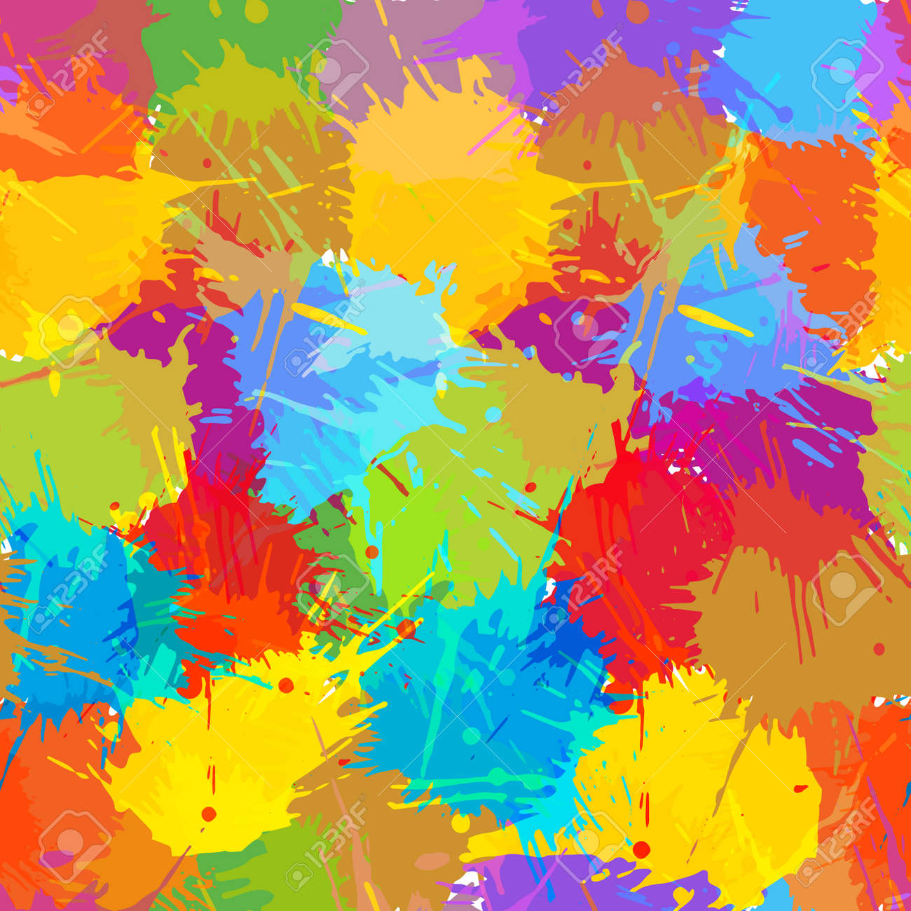 Seamless pattern, colorful blots. Abstract background, vector illustration. - 165218452