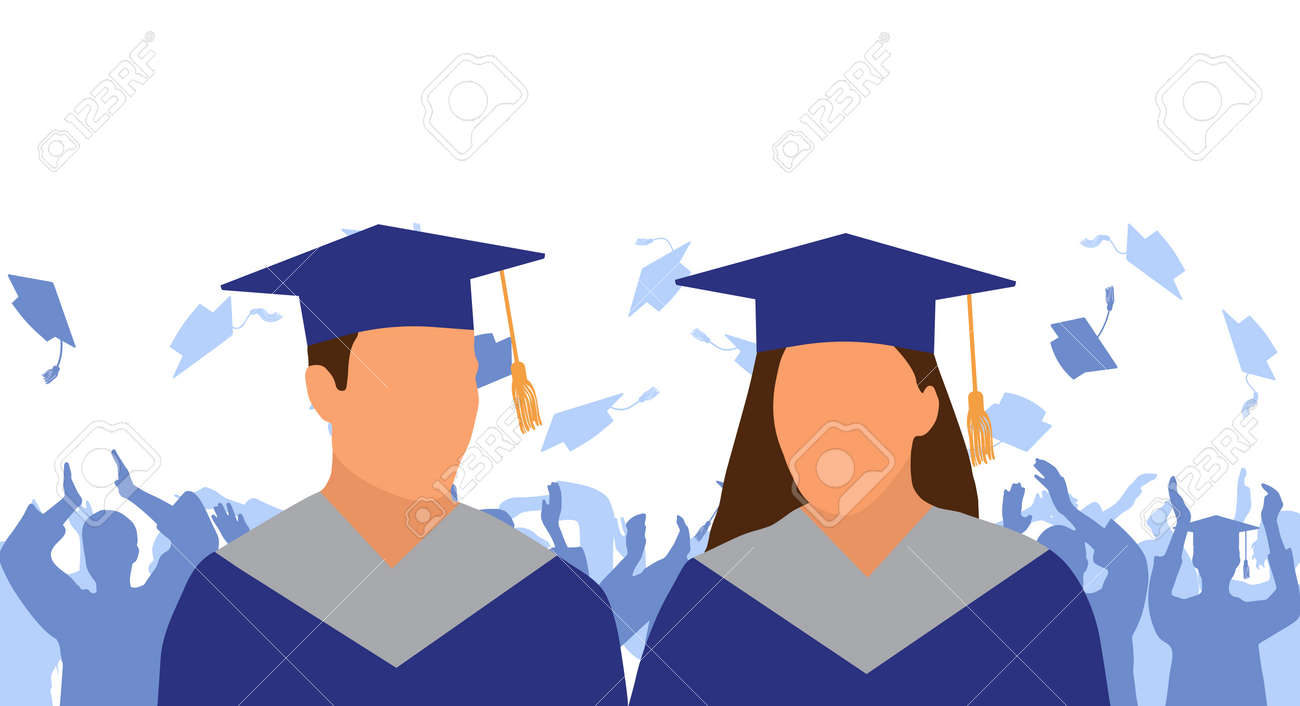 Girl and boy graduate in mantle and academic square cap on background of cheerful crowd of graduates throwing their academic square caps. Graduation ceremony. Vector illustration - 165561348