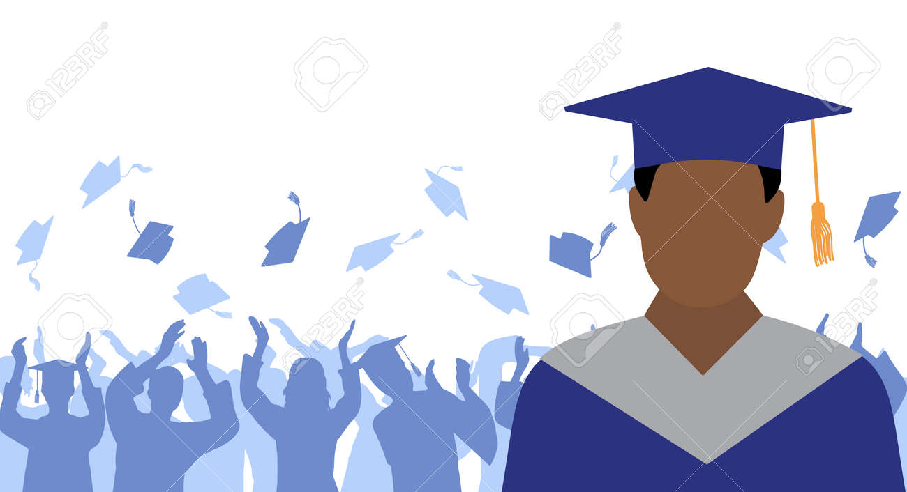 African American man graduate in mantle and academic square cap on background of cheerful crowd of graduates throwing their academic square caps. Graduation ceremony. Vector illustration - 165561651