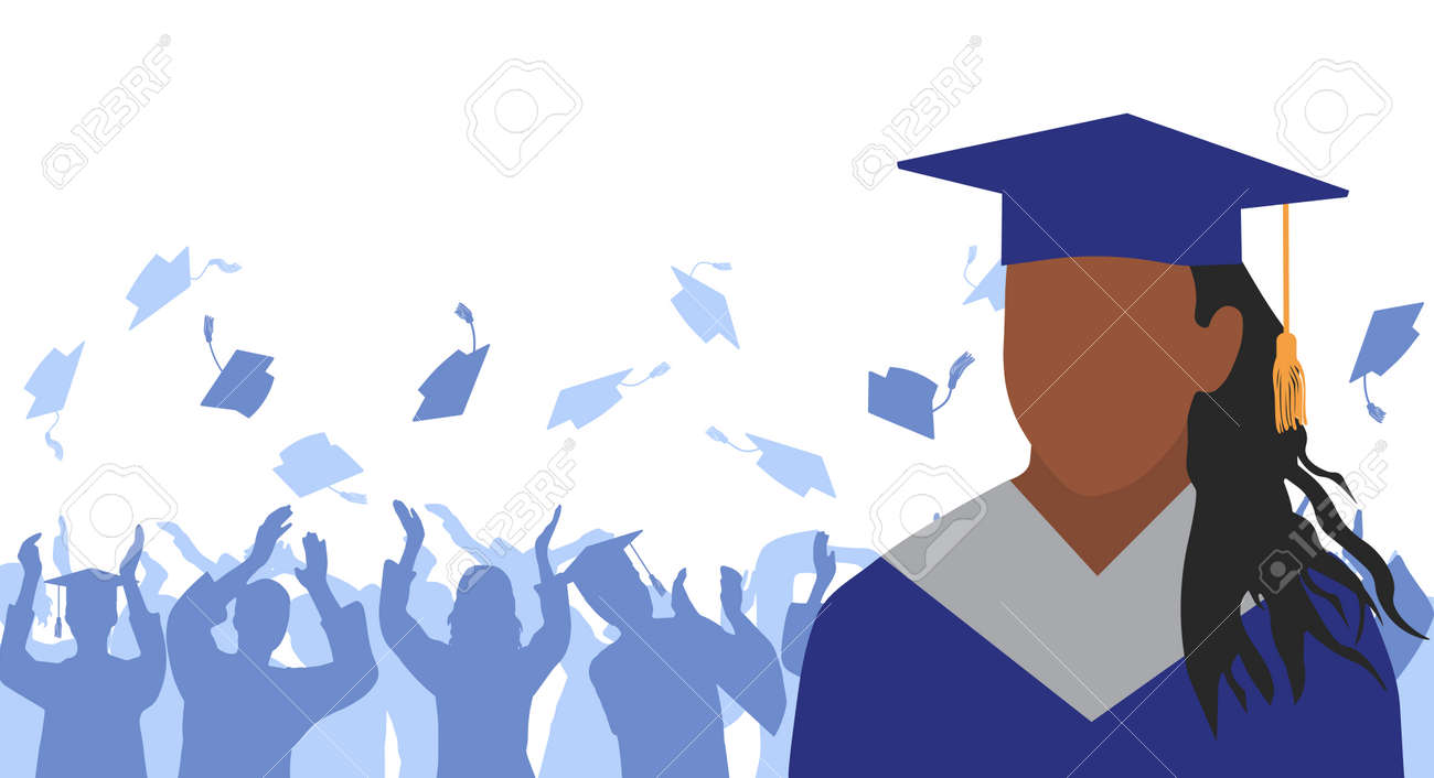African American girl graduate in mantle and academic square cap on background of cheerful crowd of graduates throwing their academic square caps. Graduation ceremony. Vector illustration - 165561579