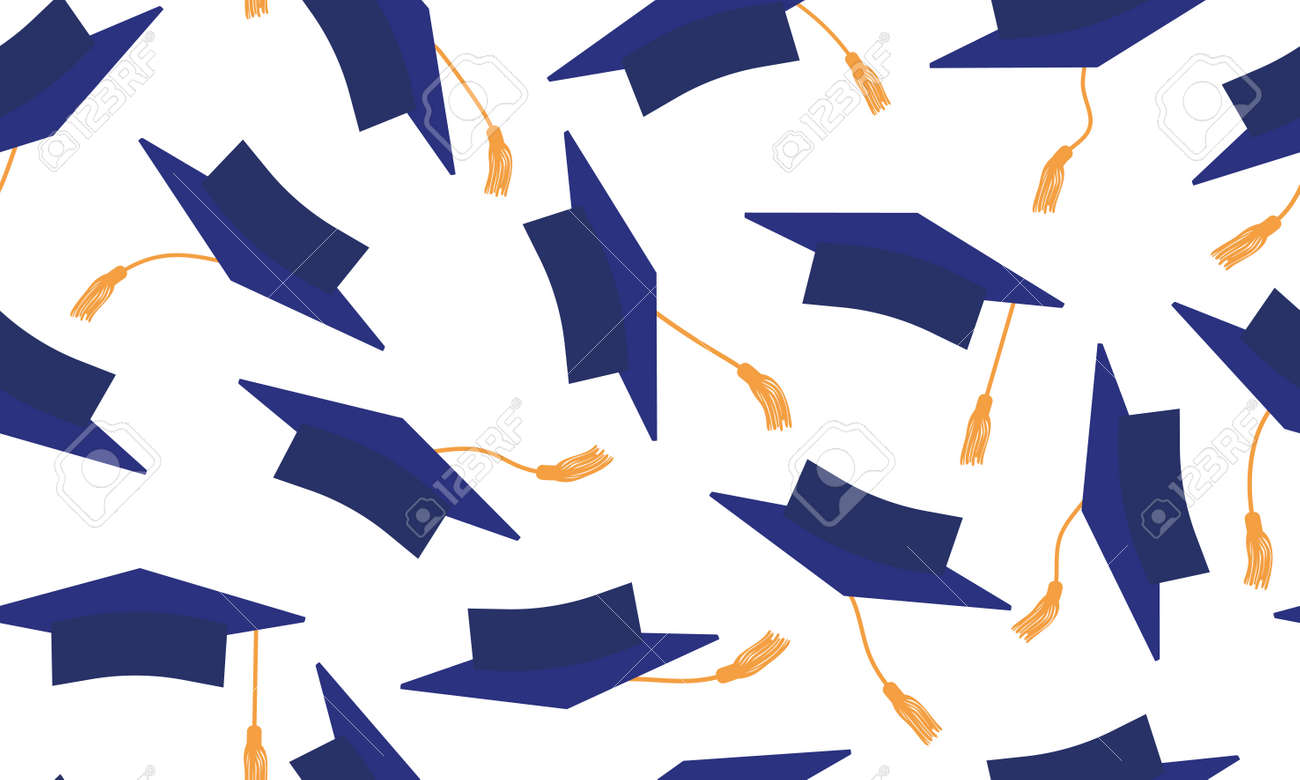 Throwing of dark blue mortarboard on white background. Seamless pattern of square academic caps. Graduation. Vector illustration. - 165754547