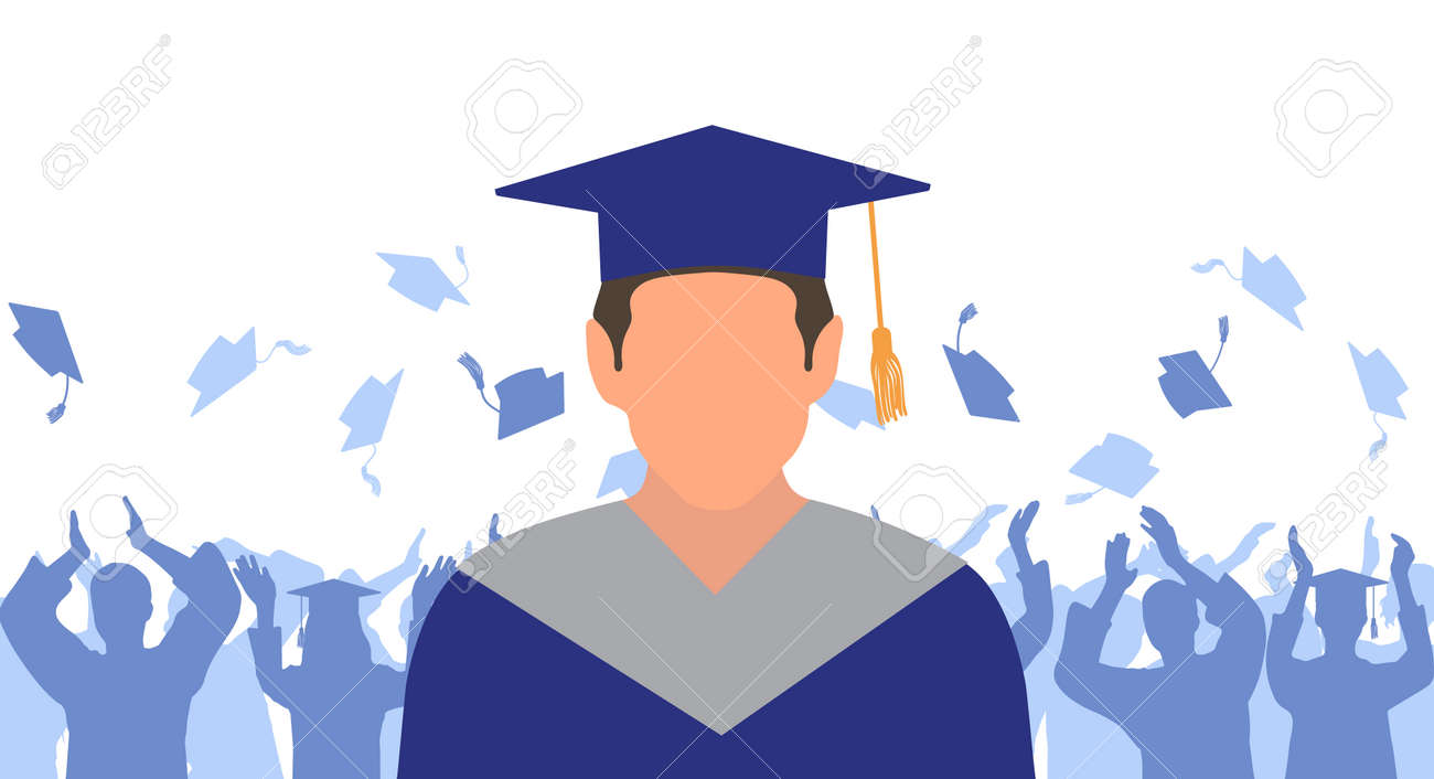 Man graduate in mantle and academic square cap on background of cheerful crowd of graduates throwing their academic square caps. Graduation ceremony. Vector illustration - 165561454