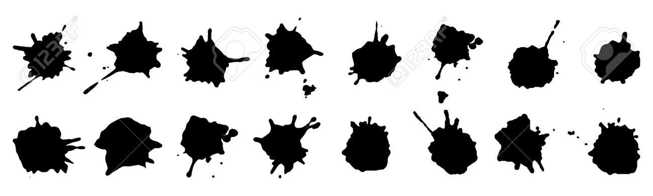 Ink blots, black paint, set of design elements. Vector illustration - 166157675