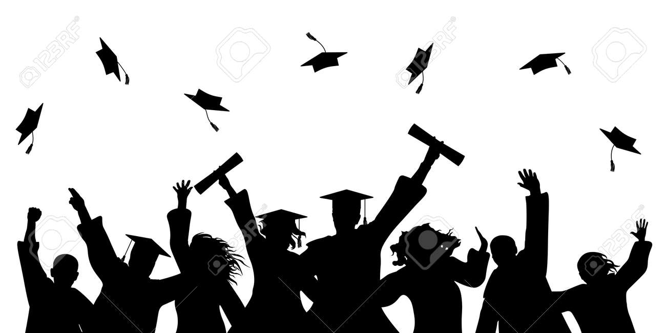 Happy graduate students with graduating caps and diploma or certificates, silhouette of group of people. - 168834795