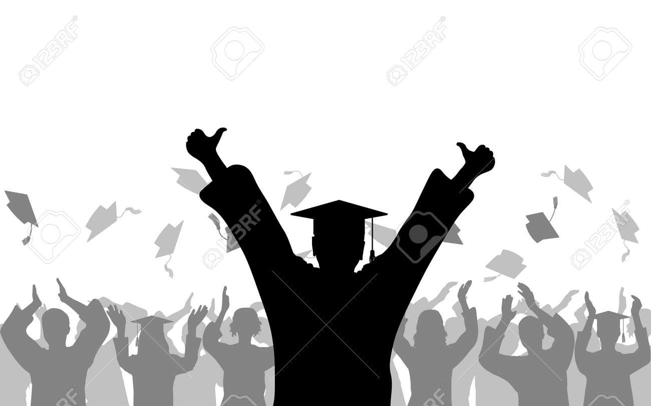 Cheerful boy graduate of joyful crowd of students people throwing mortarboards or academic caps, silhouette. - 168834805
