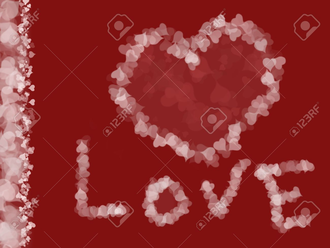 Illustration of hearts, love background with vertical frame made of hearts, Valentine's day, romantic/love themed image Stock Illustration - 2571688