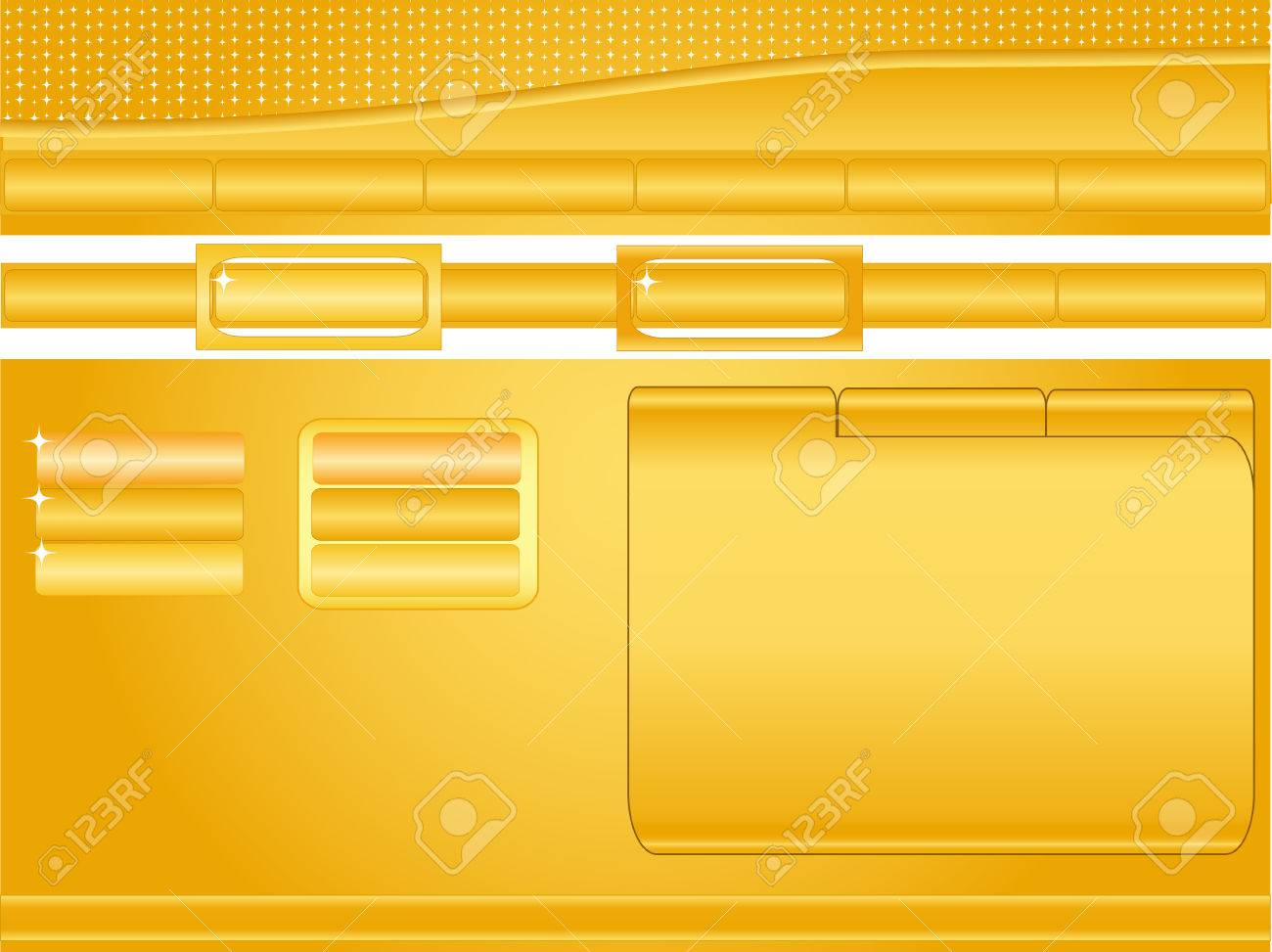 Orange and yellow, glossy website template with buttons, headers, banner space and text window Stock Vector - 3057361