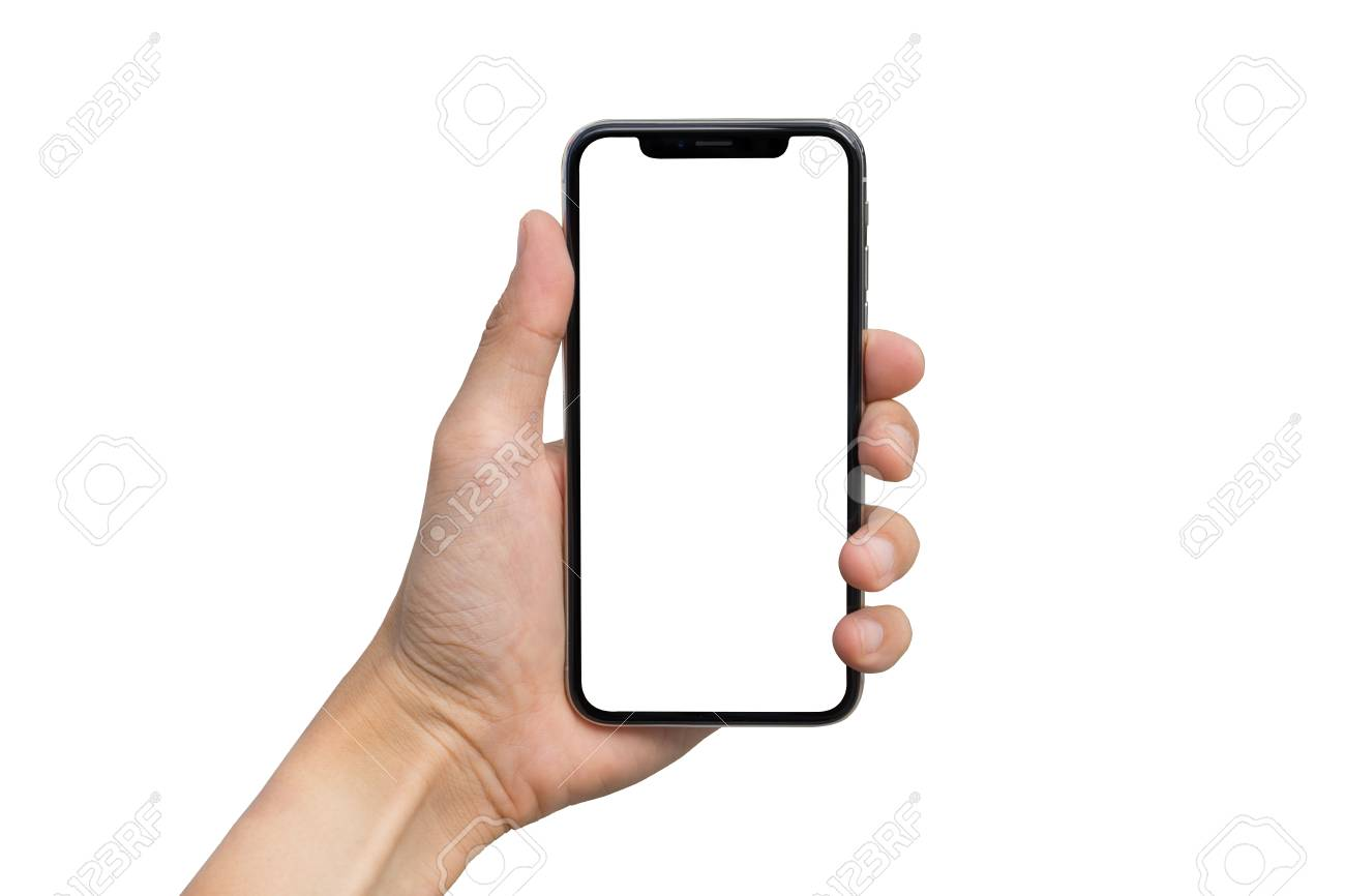 Man's hand shows mobile smartphone with white screen in vertical position isolated on white background - 90594245