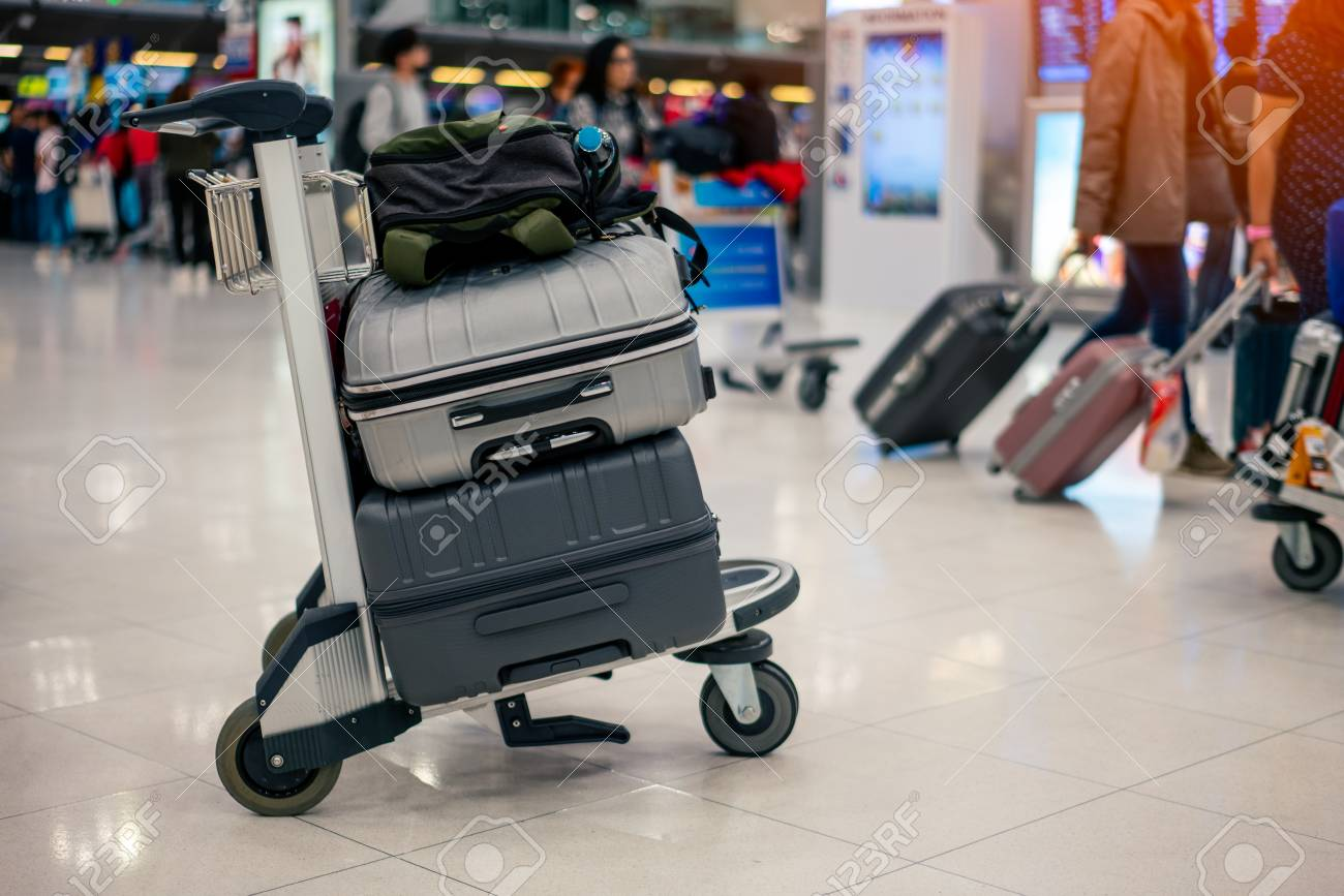 Stock Photo - Suitcase or baggage with airport luggage trolley in the  international airport. da2893c5d