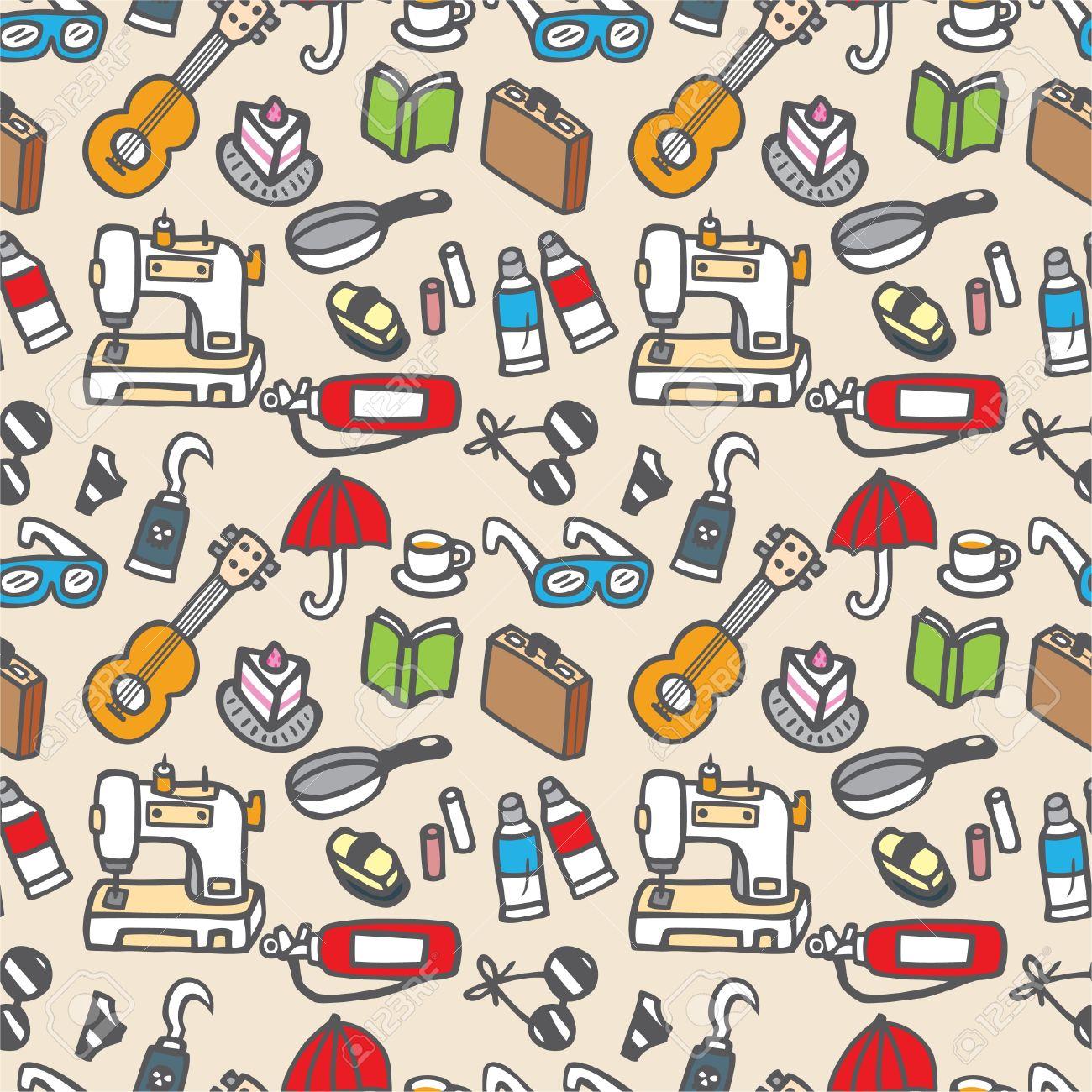 seamless cute object pattern illustration Stock Vector - 8501547