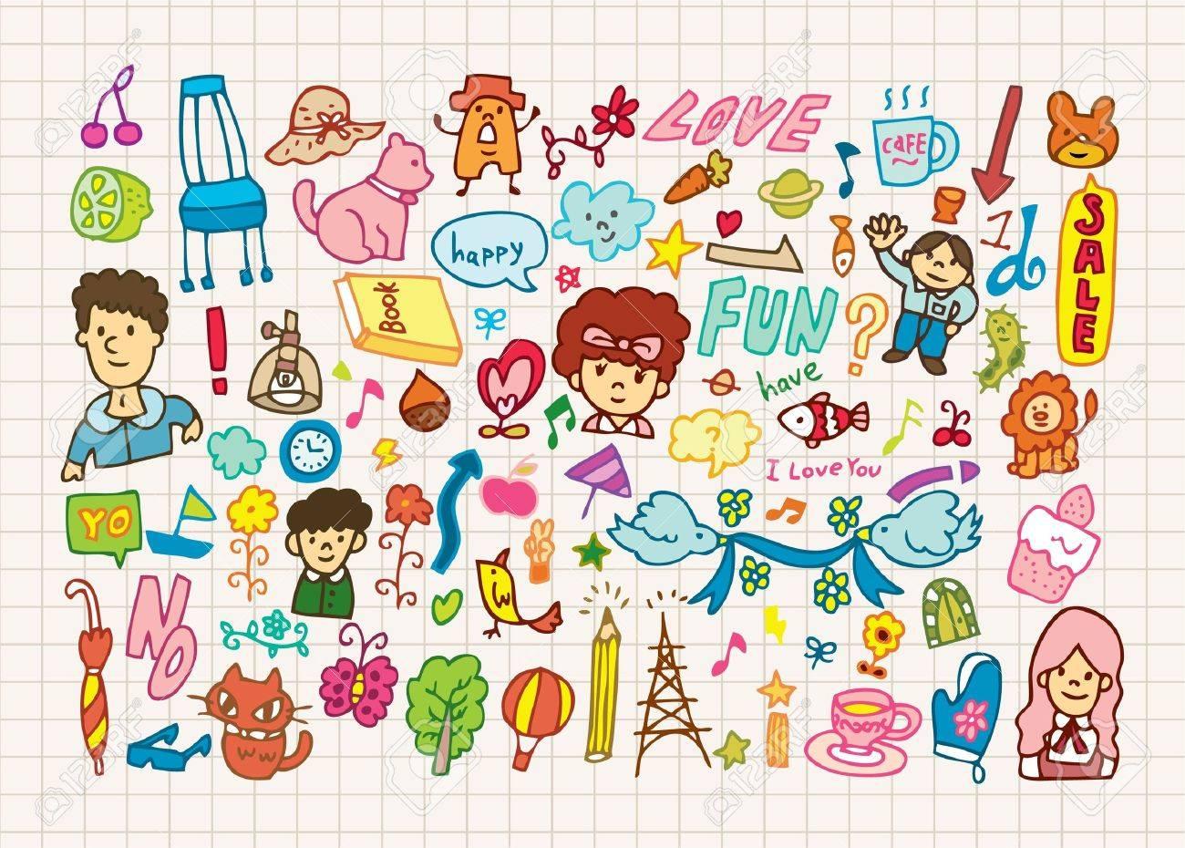手描きイラストかわいい漫画要素のイラスト素材ベクタ Image 8501548