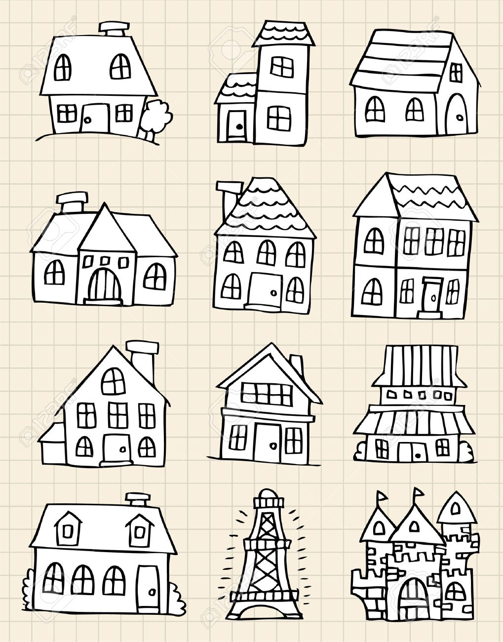 hand draw cute house Stock Vector - 8493709