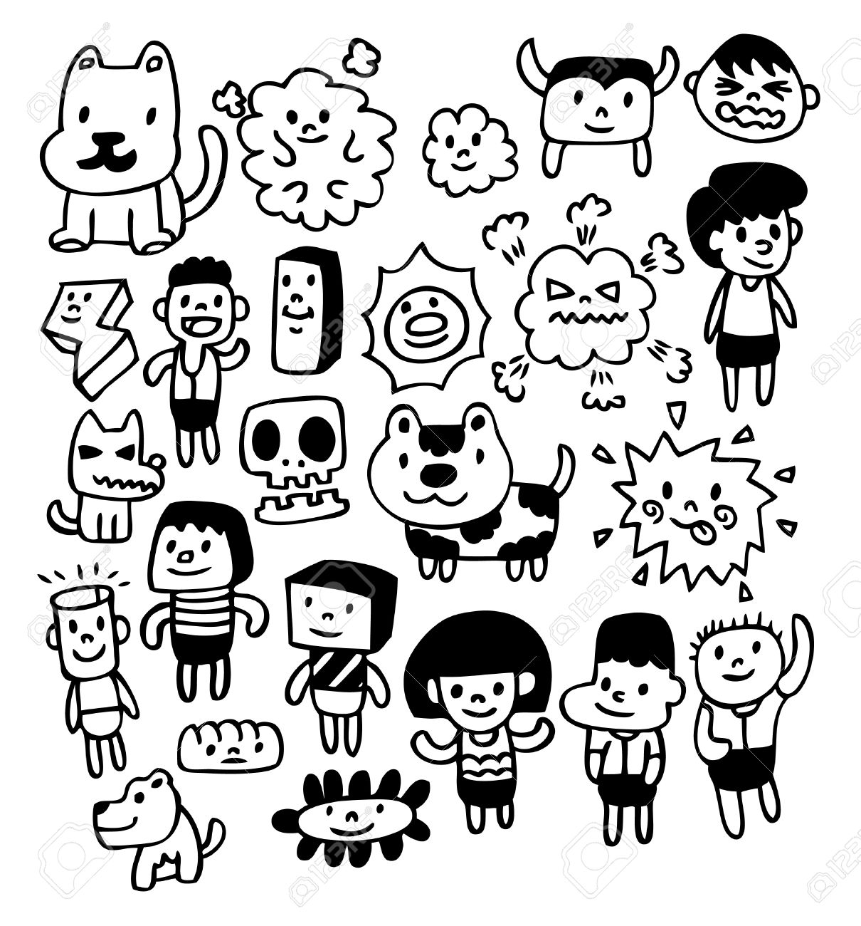 Cute Doodles To Draw For Your Girlfriend 8493698-hand-draw-cute-cartoon