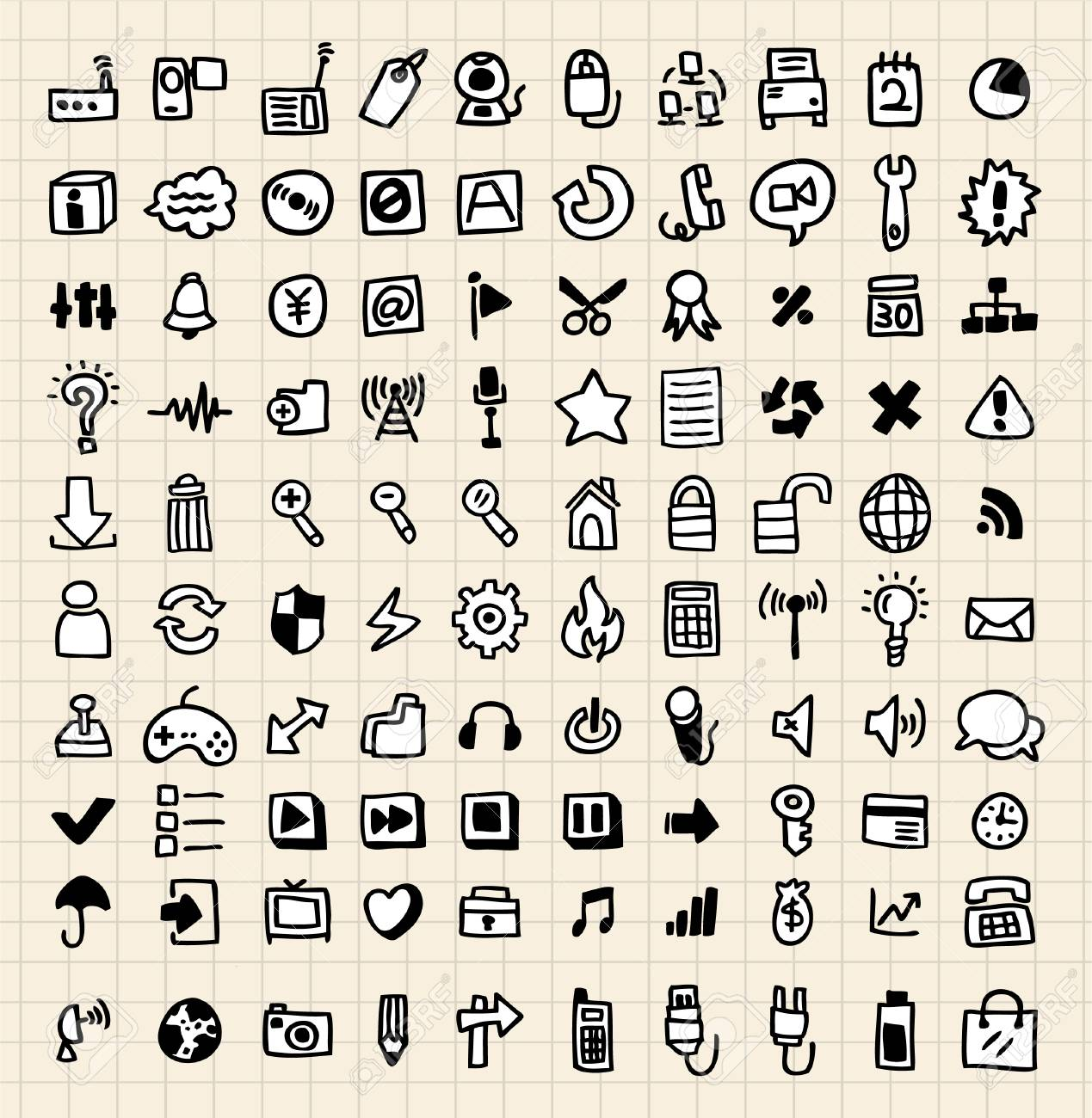 100 hand draw web icons Stock Vector - 8492113