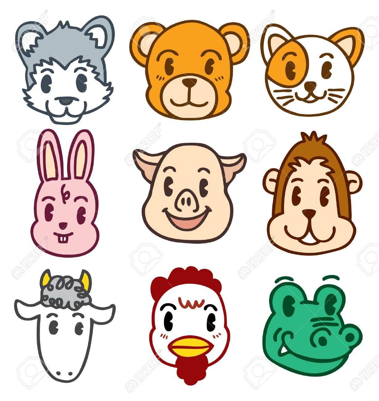 cartoon animal head Stock Vector - 8487091