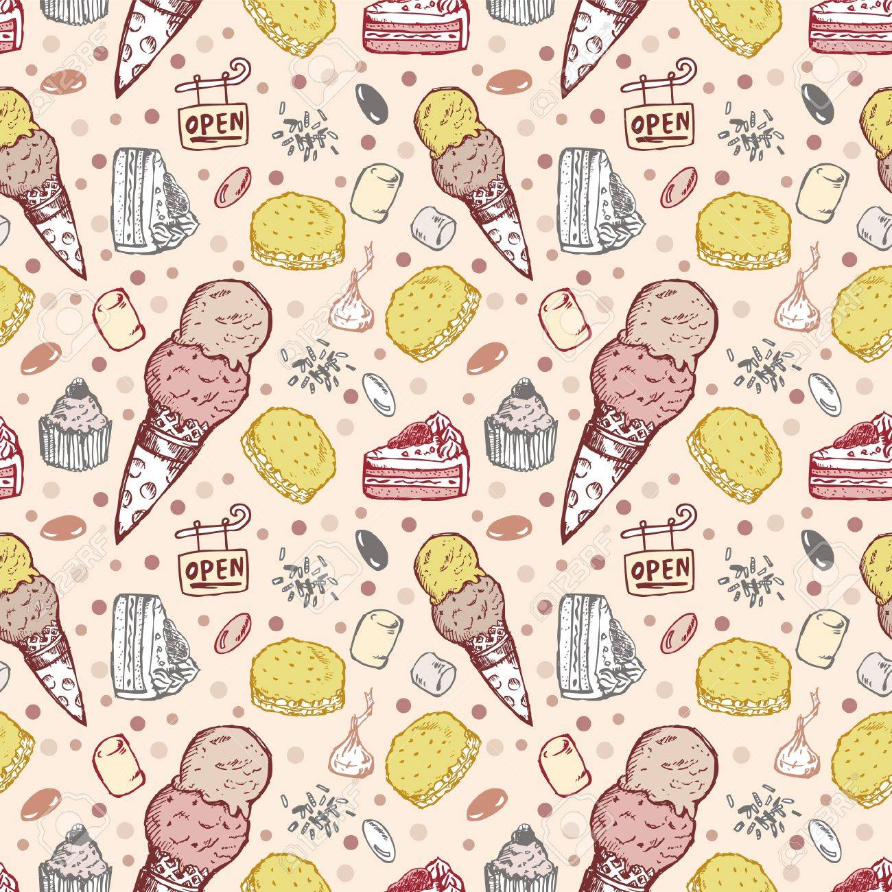 seamless cookie pattern Stock Vector - 8480534