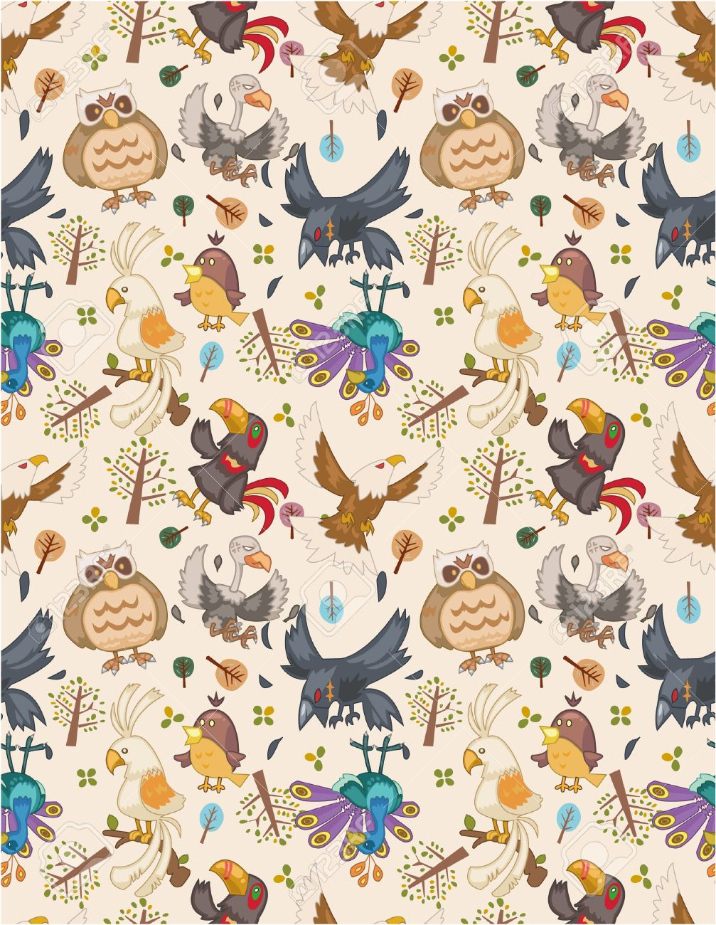 seamless bird pattern royalty free cliparts vectors and stock