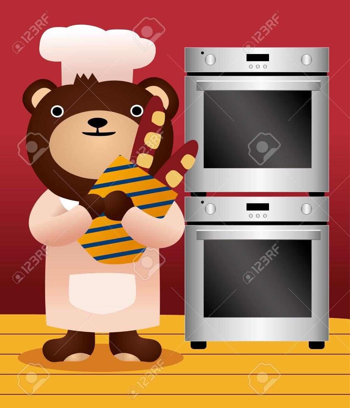 bear and bread Stock Vector - 8504749