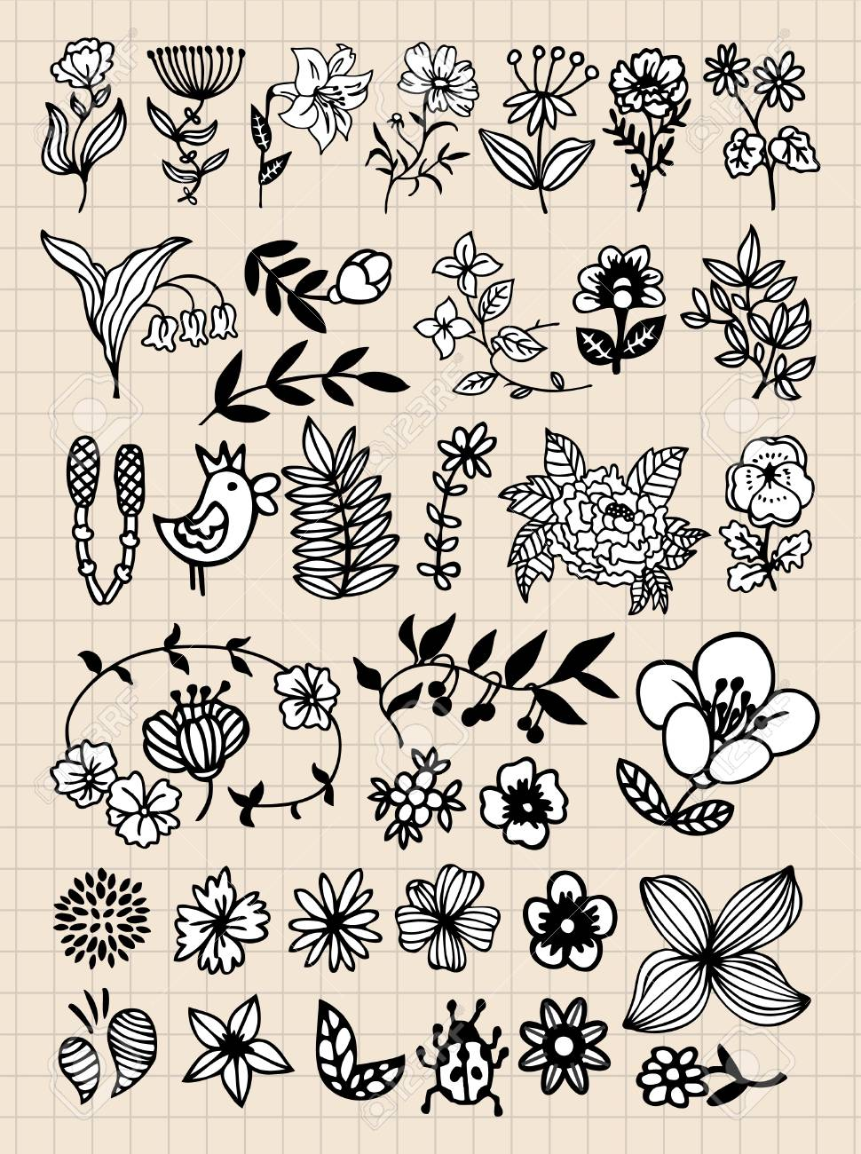 Set of black flower design elements Stock Vector - 8504761